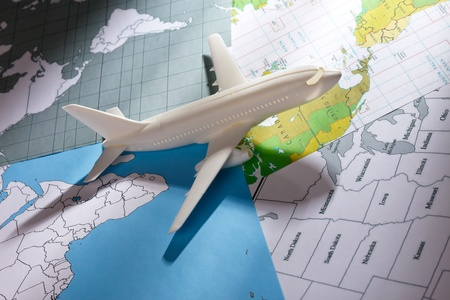 travel industry: airliner with a maps