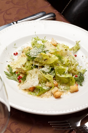 croutons: vegetable salad with croutons Stock Photo