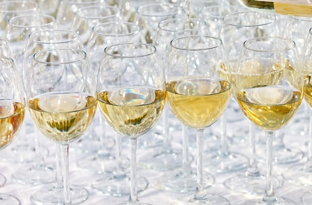 glass drink white wine on buffet outdoor party  photo