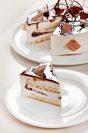 trozo de pastel: torta de chocolate Foto de archivo