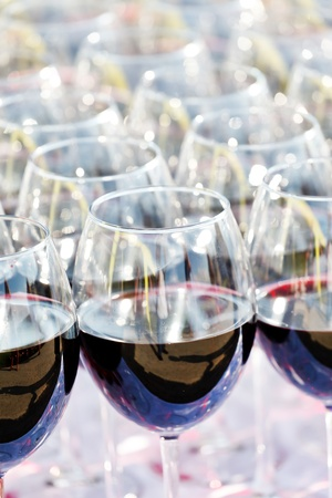 glass drink red wine on buffet outdoor party  photo