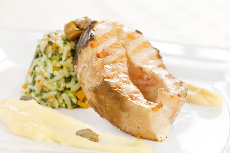 fish steak with rice photo