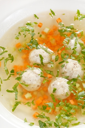 broth: soup with meatballs  Stock Photo