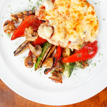 Schnitzel with vegetables photo