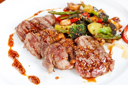 meat dish: meat with vegetables Stock Photo