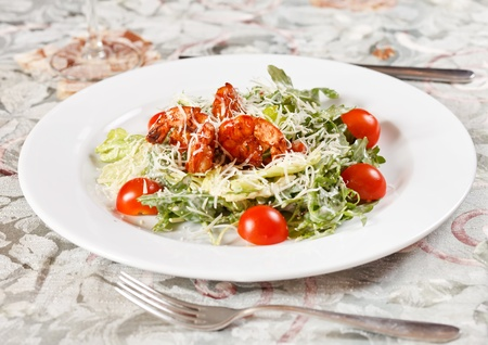 Fresh salad with shrimps photo