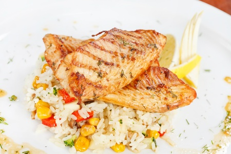 fish steak with rice photo