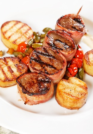 Grilled meat  with vegetables photo