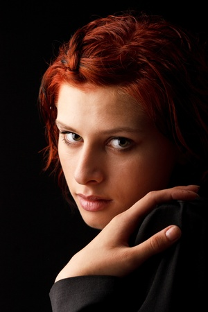 red haired woman: portrait of a beautiful woman