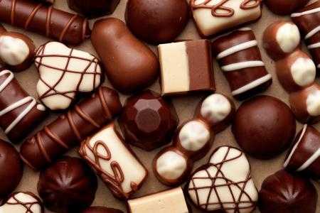 praline: chocolade snoepjes Stockfoto