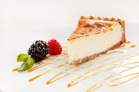 fresh baked: cheesecake with caramel and berry