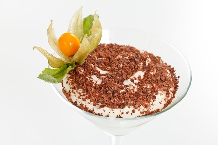 husk tomato: tiramisu in a glass Stock Photo