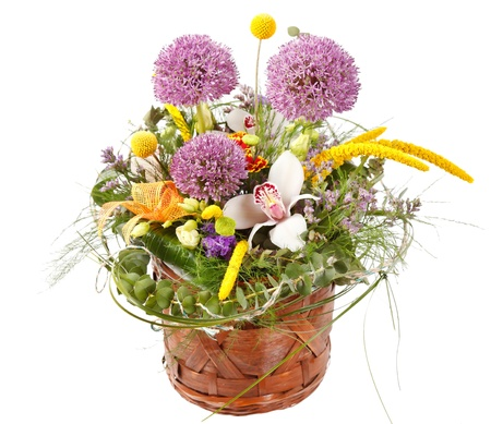 beautiful flowers in the basket Stock Photo