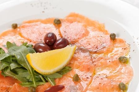 carpaccio: Fish Carpaccio with salad