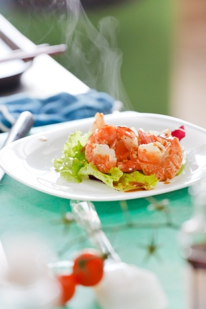 fried shrimps with vegetables Stock Photo - 10847843