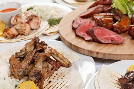 meat dish: party with tasty dishes