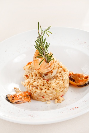 delicious risotto with seafood photo