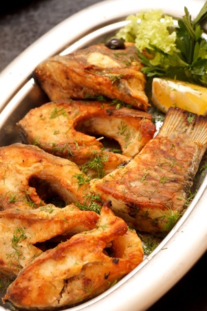 fried fillet carp  photo