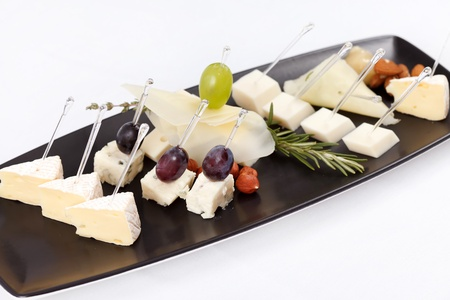 different types of cheese: plate with different types cheese Stock Photo