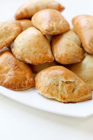 pasty: Homemade pasties with potatoes Stock Photo