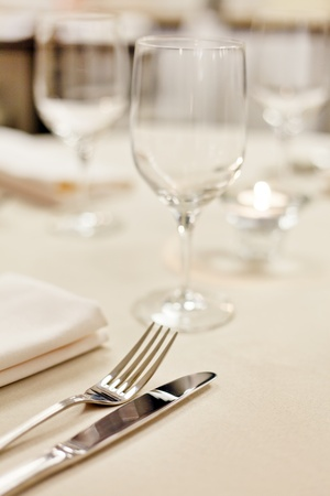restaurant setting: Tables set for meal Stock Photo