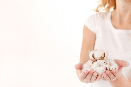 cotton plant: young woman with cotton flowers Stock Photo