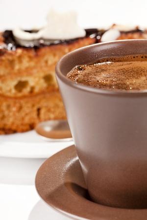chocolate cake with coffee photo