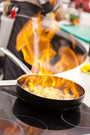 stove fire: pot with fire