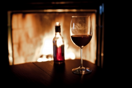 warm drink: fireplace and wine