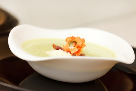 cream soup with bacon photo