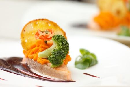 salmon steak with sauce Stock Photo - 12352508