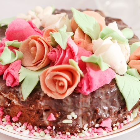 tasty cake with roses photo