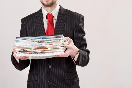 businessman with stack of paper photo