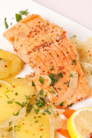 salmon fillet with potatoes photo