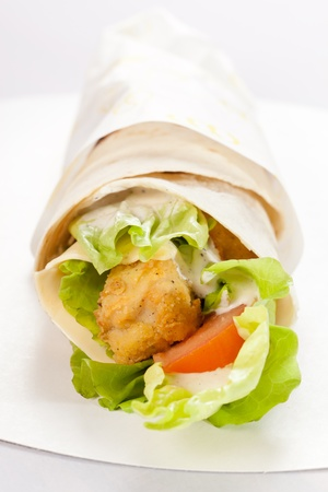 chicken sandwich: tortilla with chicken and vegetables