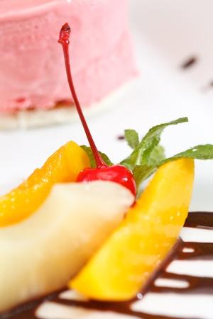 cherry ice cream with fruits photo