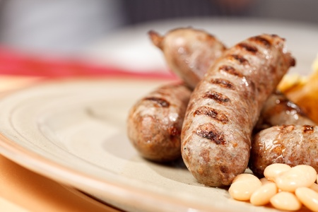 baked beans: sausages with grilled vegetables