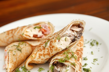 pancakes with chicken Stock Photo - 13475444