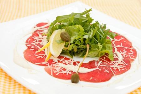 carpaccio: Meat Carpaccio with Parmesan Cheese