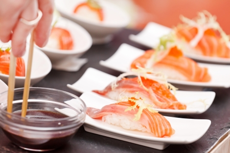 tekka: sushi on the table Stock Photo