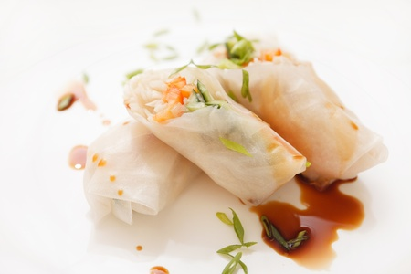 spring onion: spring rolls Stock Photo