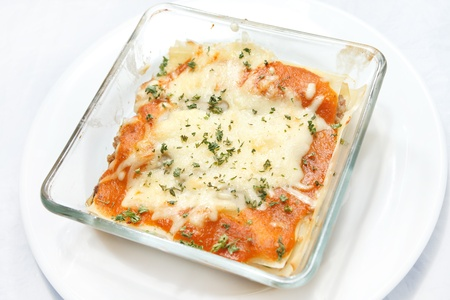 fresh baked lasagna photo