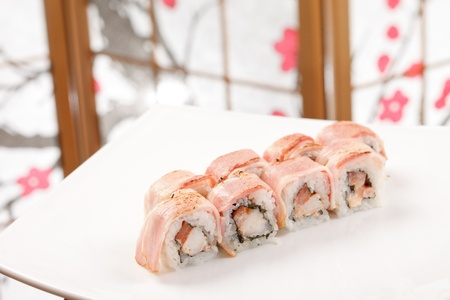 sushi with shrimp and bacon Stock Photo - 13836658