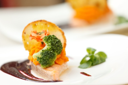 salmon steak with sauce Stock Photo - 13899317