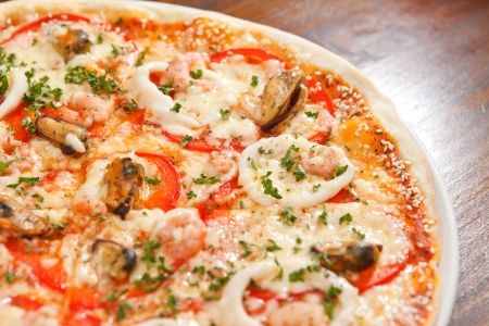 Seafood pizza photo