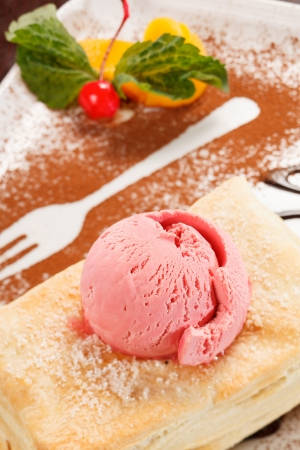 puff pastry with ice cream photo