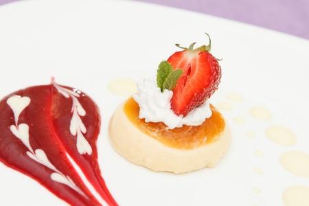italian panna cotta dessert with strawberry photo