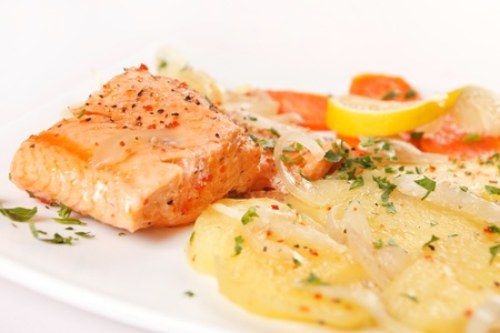 salmon fillet with potatoes photo