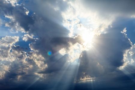 sunbeams: sky with sun