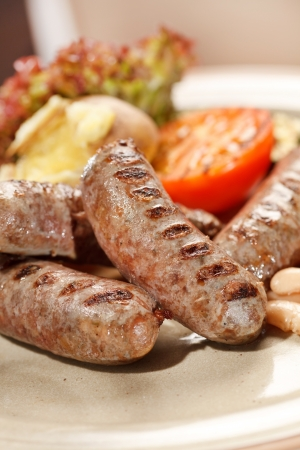 sausages with grilled vegetables photo